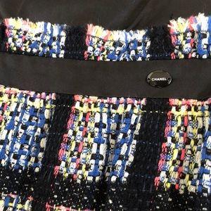 CHANEL Tweed Dress Size 40 Silk Black Dress